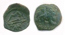 Монета тетрахалк, Боспор, Пантикапей, 275-245 гг. до н.э., медь, D-16 мм