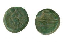 Монета тетрахалк, Боспор, Фанагория, 220-210 гг. до н.э., медь, D-12 мм