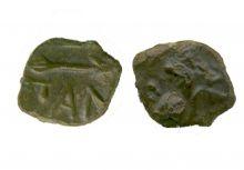 Монета тетрахалк, Боспор, Пантикапей, 220-210 гг. до н.э., медь, D-13 мм